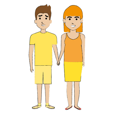 lovers couple avatars character vector illustration design