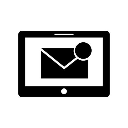 Tablet con messaggio di posta elettronica o email notifica illustrazione vettoriale Archivio Fotografico - 87293561
