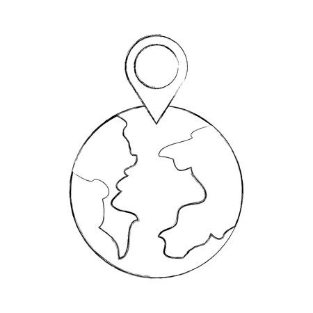 Puntatore mappa puntatore del mondo mappa web illustrazione vettoriale Archivio Fotografico - 87293568