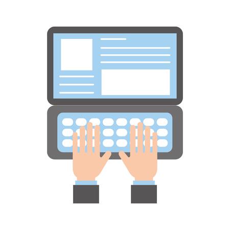 hand typen laptop werken website pagina vectorillustratie