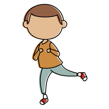 cute: little boy avatar character vector illustration design