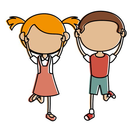 little children avatars characters vector illustration design