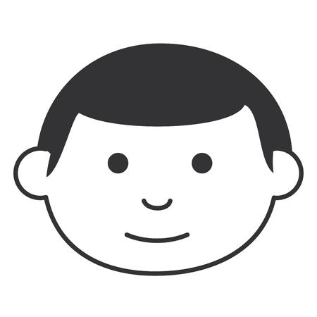 小さな男の子頭アバター文字ベクトル イラスト デザイン