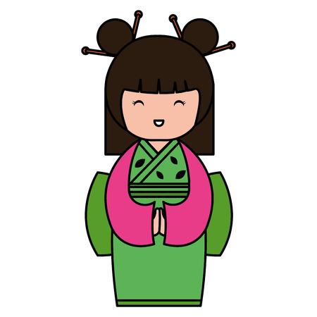 little japanese doll kawaii character vector illustration design