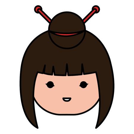 Kleine Japanse pop hoofd kawaii karakter vector illustratie ontwerp Stockfoto - 87293797