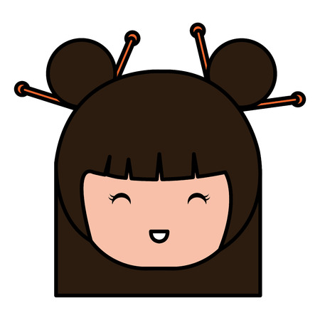 little japanese doll head kawaii character vector illustration design