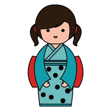 Weinig Japans ontwerp van de het karakter vectorillustratie van poppenkawaii Stockfoto - 87293803