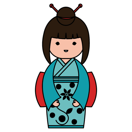 little japanese doll kawaii character vector illustration design