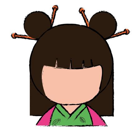 Weinig Japans ontwerp van de het karakter vectorillustratie van poppenkawaii Stockfoto - 87293856