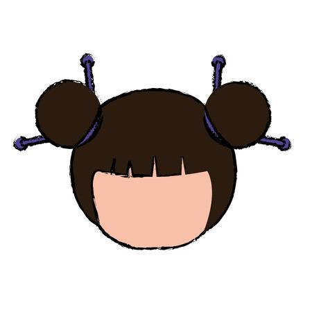 little japanese doll head kawaii character vector illustration design Stock Vector - 87293864