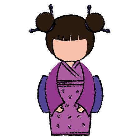 little japanese doll kawaii character vector illustration design Stock Vector - 87293868