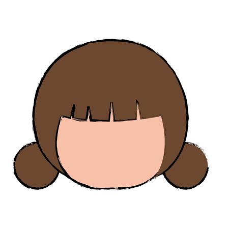 little japanese doll head kawaii character vector illustration design Reklamní fotografie - 87293872