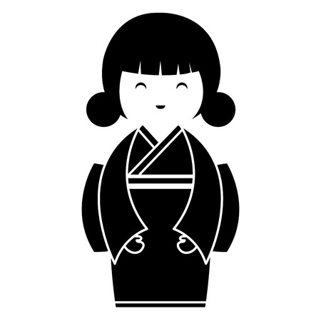 little japanese doll kawaii character vector illustration design Reklamní fotografie - 87293883