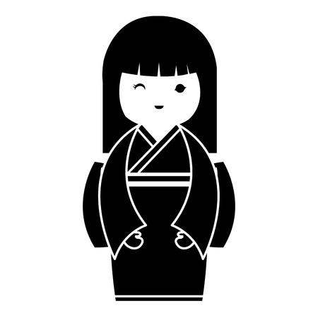 little japanese doll kawaii character vector illustration design Reklamní fotografie - 87293888
