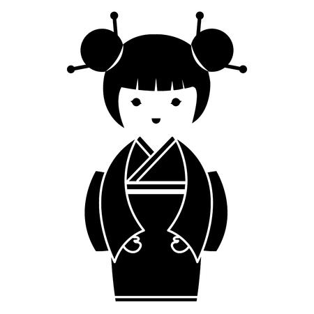 Weinig Japans ontwerp van de het karakter vectorillustratie van poppenkawaii Stockfoto - 87293889