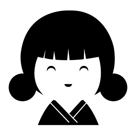 little japanese doll kawaii character vector illustration design Stock Vector - 87293915