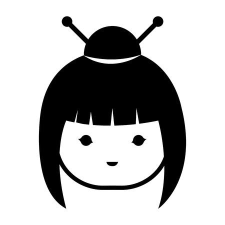 little japanese doll head kawaii character vector illustration design