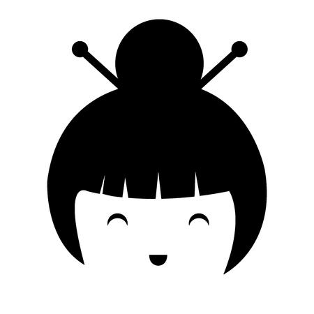 little japanese doll head kawaii character vector illustration design Stock Vector - 87293926