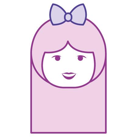little japanese doll head kawaii character vector illustration design Stock Vector - 87293951