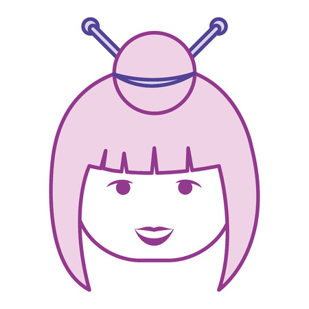 matryoshka: little japanese doll head kawaii character vector illustration design