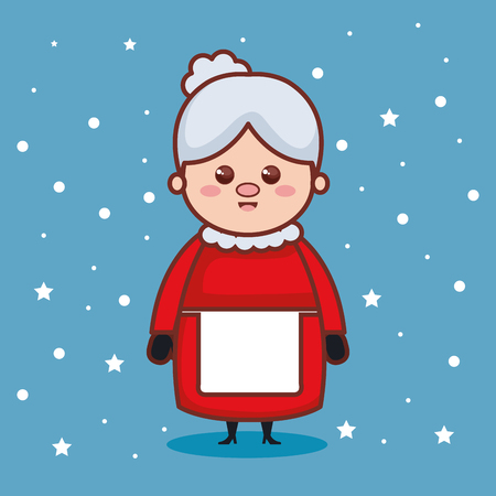christmas grandmother character icon vector illustration design