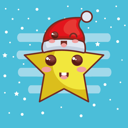 merry christmas star with hat character vector illustration design
