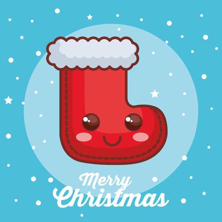 메리 크리스마스 양말 문자 벡터 일러스트 디자인