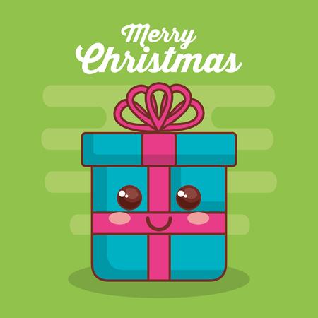 메리 크리스마스 선물 문자 일러스트 디자인