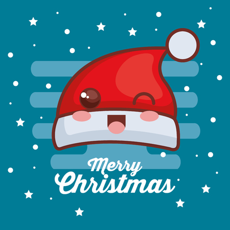 merry christmas hat character vector illustration design Stock Photo