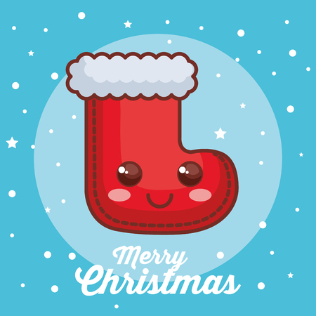 merry christmas sock character vector illustration design Фото со стока
