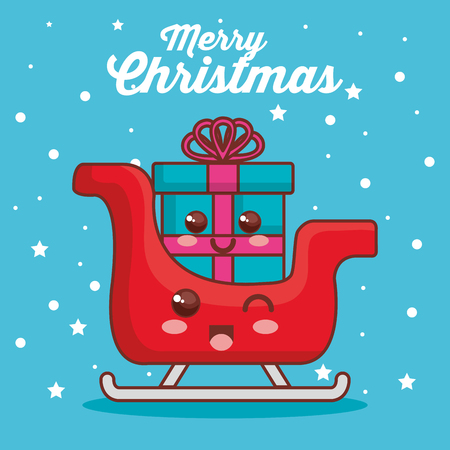 merry christmas sled with gift character vector illustration design Фото со стока