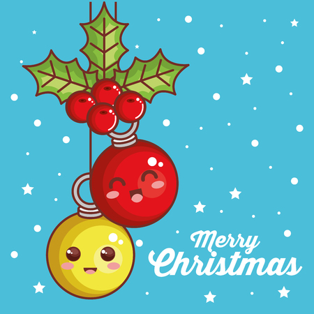 merry christmas balls characters vector illustration design