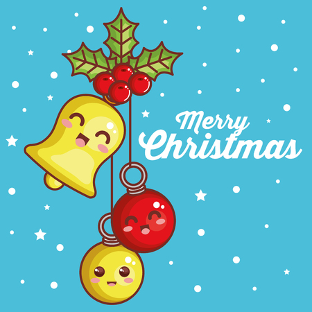 merry christmas balls and bell characters vector illustration design