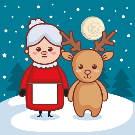 reindeer with grandmother christmas characters icon vector illustration design