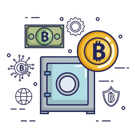 financià «n met bitcoin iconen vector illustratie ontwerp