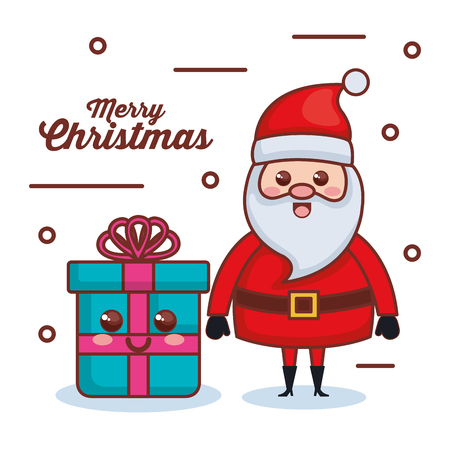 santa claus with gift character christmas card vector illustration design