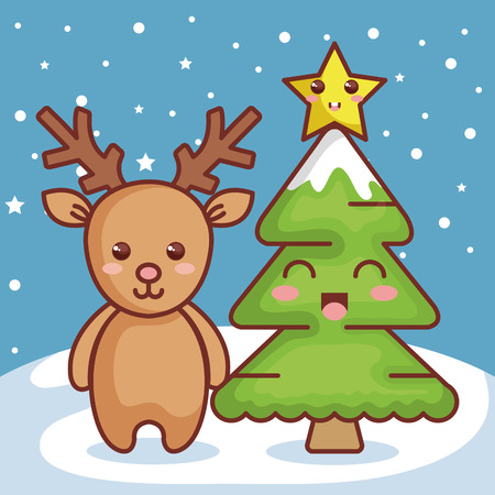 reindeer with pine christmas character icon vector illustration design Illustration