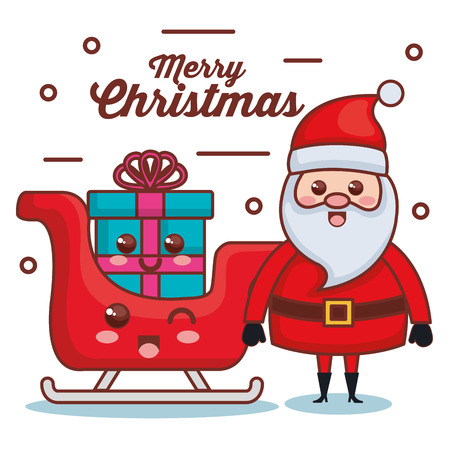 santa claus with sled and gift character christmas card vector illustration design