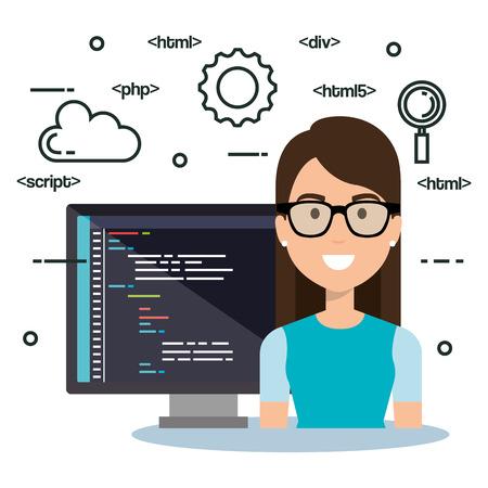 software language programmer avatar vector illustration design Illustration