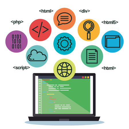 programming languages set icons vector illustration design