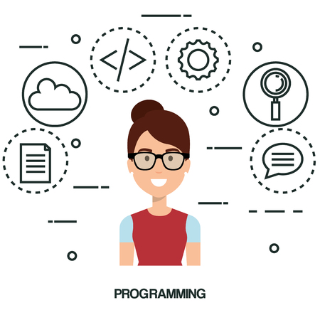 software language programmer avatar vector illustration design Иллюстрация