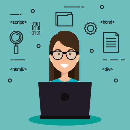 girl laptop: software language programmer avatar vector illustration design Illustration