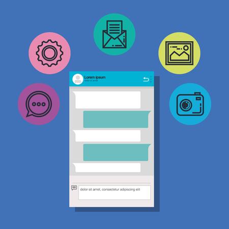 smartphone with applications menu vector illustration design
