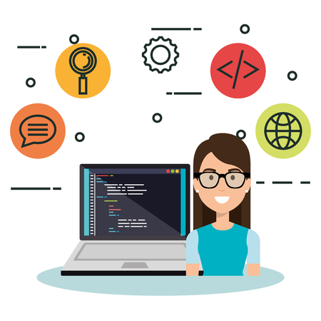 software language programmer avatar vector illustration design Illustration
