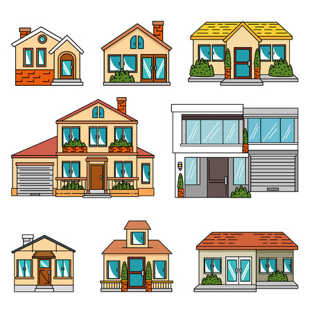 set of smart houses tecnology system vector illustration graphic design Ilustração