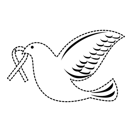 dove of peace flying with ribbon vector illustration design Stock fotó - 87385978