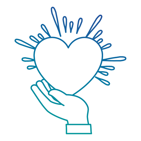 手を心臓ベクトル イラスト デザインと人間の保護