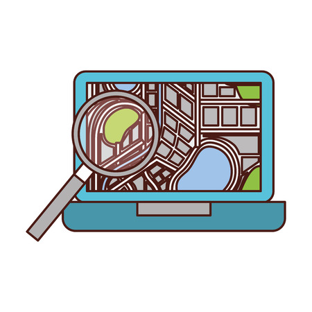 computer navigation and traveling map pointer and location finding web application vector illustration Illustration