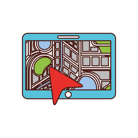 navigation gps device and city map with pins technology and traveling concept vector illustration Banco de Imagens - 87386018