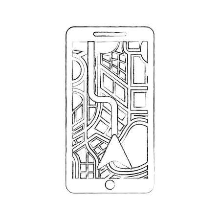 road map direction in mobile phone with arrow pointer vector illustration